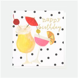 Caroline Gardner Happy Birthday Cocktails Card White