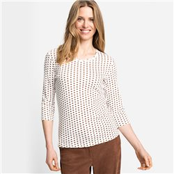 Olsen Dot Print Top Brown