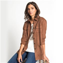 Olsen Suede Look Jacket Brown