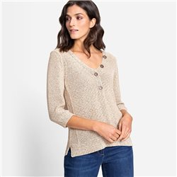 Olsen V Neck Jumper With Decorative Buttons Beige