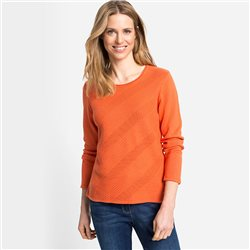 Olsen Round Neck Textured Jumper Orange