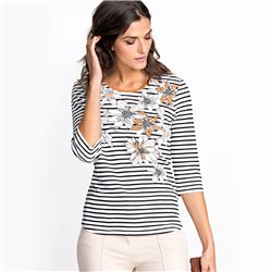 Olsen Top With Stripes And Flowers Brown