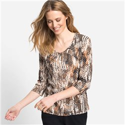 Olsen V Neck Animal Print Top Brown