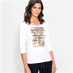 Olsen Butterfly Print Top Off White