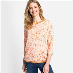 Olsen Round Neck Top With Butterfly Print Orange