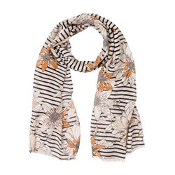 Olsen Scarf With Stripes And Flowers Brown