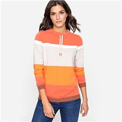 Olsen Block Stripe High Neck Jumper Orange