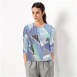 Lebek Geometric And Spot Print Top Blue