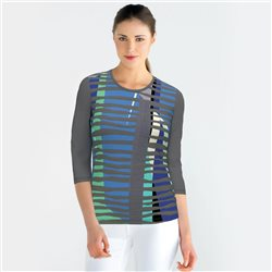 Lebek Front Print Top With Stripes Grey