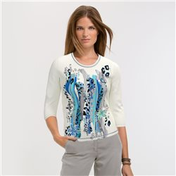 Lebek Front Print Top Off White