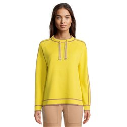 Betty Barclay Ribbed Jumper With Tie Neckline Yellow