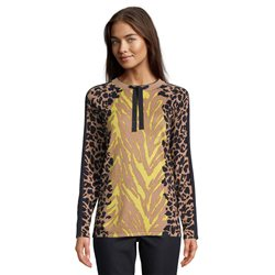 Betty Barclay Animal Print Jumper With Tie Neckline Camel