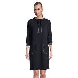 Betty Barclay Dress With Tie Neckline Navy