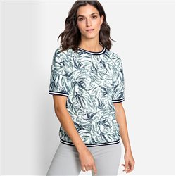 Olsen Leaf Print Top With Ribbed Edging Green
