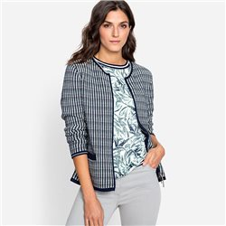 Olsen Round Neck Cardigan With All Over Pattern Navy