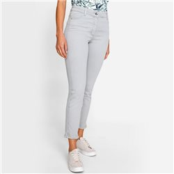 Olsen Mona Slim Crop Jean With Fringe Hem Light Grey