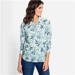 Olsen Leaf Print Blouse With Turn Up Sleeves Green