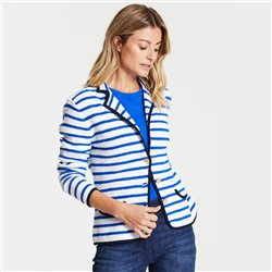 Button Front Striped Jacket Blue