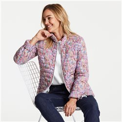 Quilted Coat With Textured Print Pink