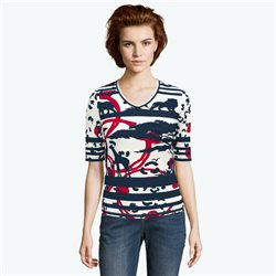 Lebek V Neck Safari Print Top Navy