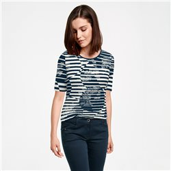 Lebek Circle And Stripe Print Top Navy