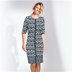Lebek Printed Dress With Side Panels Navy