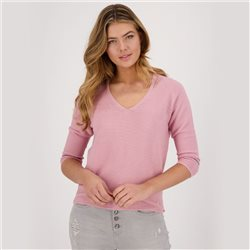 Monari 3/4 Sleeve V Neck Purl Knit Jumper Rose