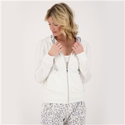 Monari Zip Jacket With Leopard Trim Hood Off White