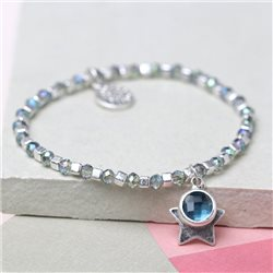 Pom Bracelet With Star And Crystal Drop Silver