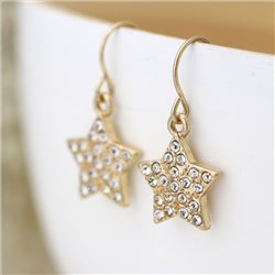 Pom Crystal Star Earrings Gold