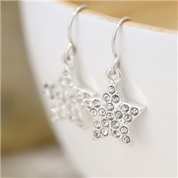Pom Crystal Star Earrings Silver
