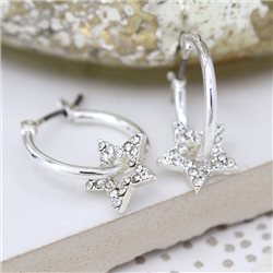 Pom Hoop Earrings With Crystal Star Silver