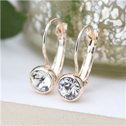 Pom Crystal Drop Earrings Gold