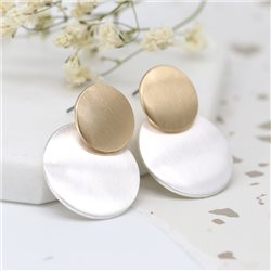 Pom Double Disc Earrings Gold