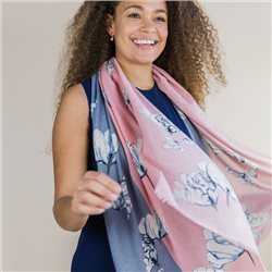 Pom Scarf With Large Flower Print Pink