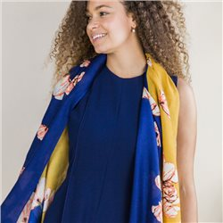 Pom Scarf With Large Flower Print Blue