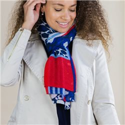 Pom Crinkle Scarf With Mixed Print Blue