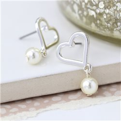 Pom Heart Earrings With Drop Silver