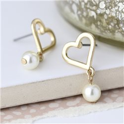Pom Heart Earrings With Drop Gold