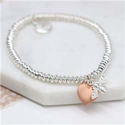 Pom Bracelet With Bee And Heart Charm Silver