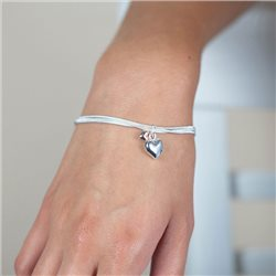 Pom Triple Chain Bracelet With Hearts Silver