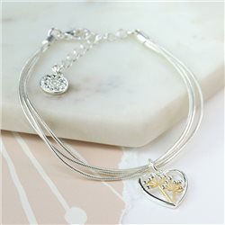 Pom Triple Chain Bracelet With Floral Heart Charm Silver