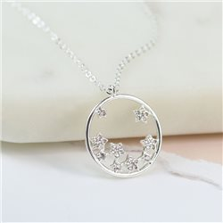 Pom Circle Necklace With Star Cluster Silver