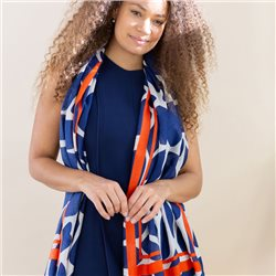 Pom Graphic Print Scarf With Stripe Border Navy