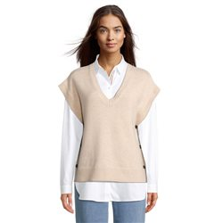 Betty & Co V Neck Knitted Jumper With Button Detail Beige