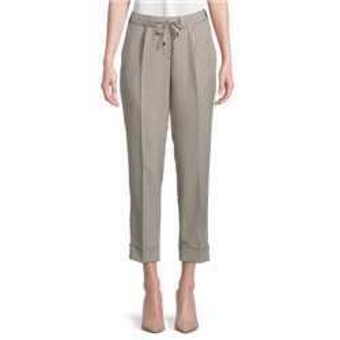 Check Trouser With Tie Waistband Khaki