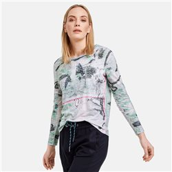 Taifun Burnout Top With All Over Print Grey