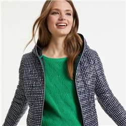 Taifun Quilted Coat With Check Pattern Navy