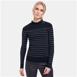 Taifun Striped Jumper With Frill Neckline Navy