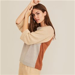 Part Two Herri Colour Block Linen Jumper Grey